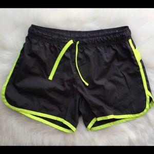 Grey & Neon Yellow Running Athletic Shorts XL